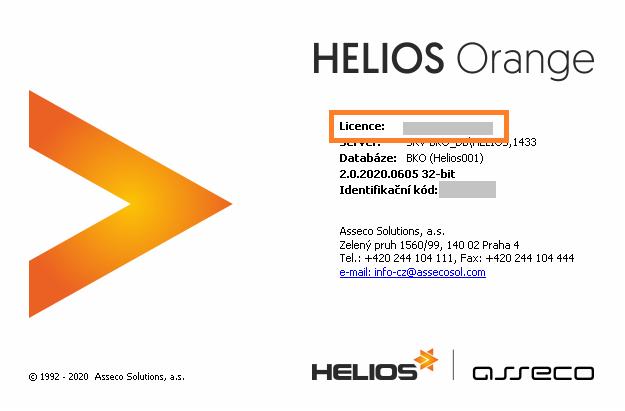 Licenční kód HELIOS verze 2.0