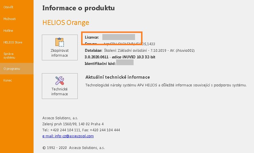 Licenční kód HELIOS iNUVIO